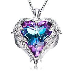 Valentines Day GIFT Purple Heart Crystal Pendant Necklace for ...