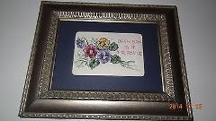 Finished Cross Stitch framed picture Pansies Each Day is a Tre...