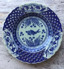 Antique Qing Qianlong Colbalt Blue Koi Fish Lattice Celadon Sc...