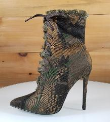 So Me Lilly Green Camo Point Toe Frayed Edge High Heel Ankle B...