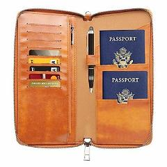 Gallaway Leather Travel Wallet Two Passports Holder Cover Docu...