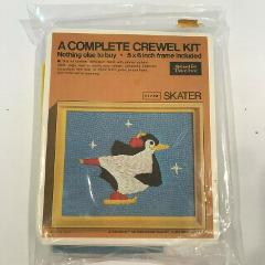 Vintage Crewel Kit With Frame Penguin Skater By Studio Twelve NIP
