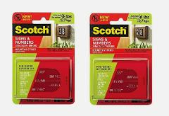2~Scotch Signs & Numbers MOUNTING STRIPS Clear Hold 6 lbs Indo...
