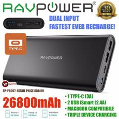 RAVPower 26800mAh Portable Charger USB C Dual Input Battery Po...