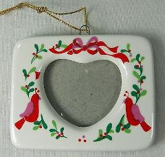 Russ Berrie HEART FRAME Christmas Holiday Ornament Birds Holly...