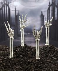 Skeleton Hand Symbol Arm Stakes Outdoor Decor Yard Art Rock On...