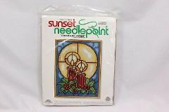 Sunset Xmas Needlepoint Stained Glass Candles 6083