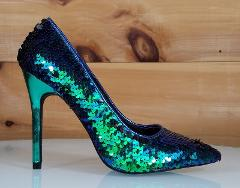 CR Kitana Green Mermaid Sequin Pointy Toe Pump 4.5