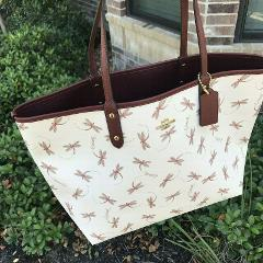 NWT COACH Reversible City Tote Dragonfly Print - Chalk / Multi...
