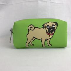 Marc Tetro Pug Dog Cosmetic Make Up Bag Green Faux Leather Z...