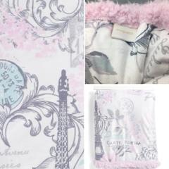 Paris Eiffel Tower Throw Blanket Luxury Soft Minky Sherpa Pink...
