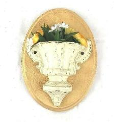 Cast Iron wall sconce floral wall decor off white yellow handmade
