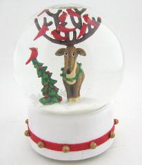 Department 56 Music Box Snowglobe Reindeer Cardinal Birds Xmas...