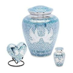 Blue Loving Doves Set of 3 Cremation Urns (Adult,Keepsake,Hear...