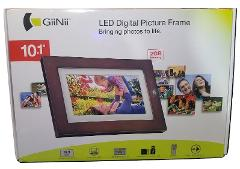 GiiNii (GH-A13P) - 10.1″ LED Digital Picture Frame, Wood w/ Wh...