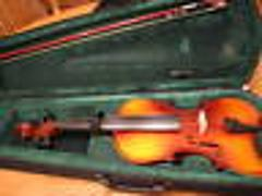 Violin student practice with case and Bow instrument music les...