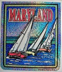 Maryland State Vinyl Reflective Souvenir Decal with Glitter