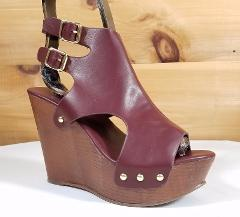 Refresh Brown FX Wood Sandal High Heel Wedge Shoes 4.5