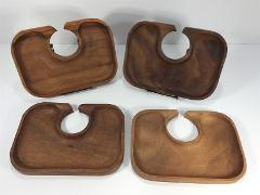 Vintage Mid Century Party Serving Trays Drink Holder Wood Set ...