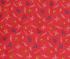 Nautical Cotton Fabric Red Anchors Knots Material Sold By The ...