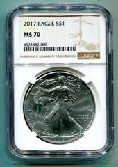 2017 AMERICAN SILVER EAGLE NGC MS70 NEW BROWN LABEL AS SHOWN P...