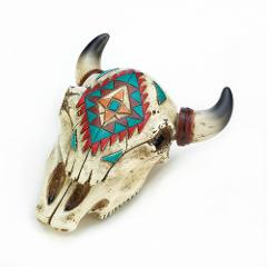 Tribal Design Ox Cow Skull Horns Trinket Stash Box 6