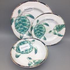 12pc Tommy Bahama Melamine Plate Bowl Set Sea Turtle Ocean Tur...
