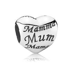 Pandora 'Mum, Mama, Mother' Solid Sterling Silver Heart Charm ...