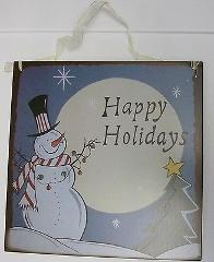 Happy Holidays Metal Hanging Sign
