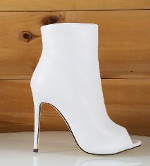 So Me Bleu White High Heels Vegan Leather Peep Toe Ankle Boot ...