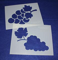 Grape Stencils (Large) - 2 Piece Set - 8 x 10 Inches