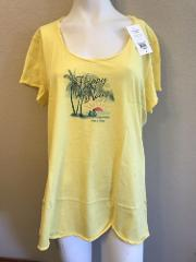 Life is Good Ladies Size XL T-Shirt Beach Graphic Yellow Happy...