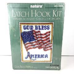 Natura Patriotic Latch Hook Kit God Bless America Flag 20
