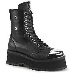 Grave Digger 10 Black Chrome Toe Plate Lace Up Ankle Boots Men...