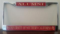 USC Trojans Alumni On Red License Plate Frame