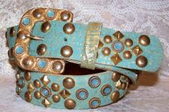 Aqua and Brass Leatherock AB Belt Made with Pacific Opal Swaro...