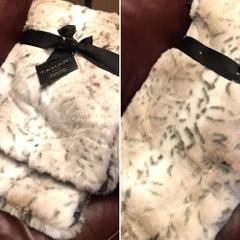 Tahari Snow Leopard Faux Fur Throw Blanket Gray Cream Tan Plus...