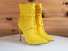 So Me Billie Yellow Pointy Toe High Heel Ankle Boot Cage Studd...