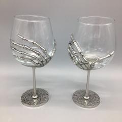 x2 Halloween Skeleton Hand Wine Glass Set Goblet Silver Metal ...