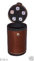 New BROWN DICE Casino Leather Dice Cup Shaker Craps Cubilete 5...