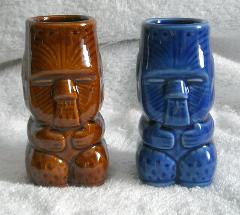 2 TIKI shot glasses Ceramic Glossy 12 OZ DW137 blue brown part...