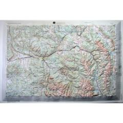 Leadville USGS Regional Raised Relief Map in the state of CO