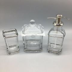 3pc BELLA LUX Bath Set Glass Dr Apothecary NY Jar Soap Dispens...