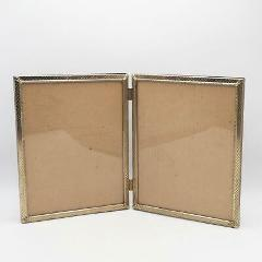 Vintage Goldtone Metal Double Picture Frame for 8x10