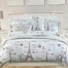 8pc Nicole Miller Paris Set Eiffel Tower TWIN Comforter Sham P...