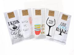 Kitchen Dish Towels Set of 5 Tea 16 x 26 Printed Sayings Coffe...