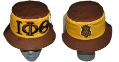 IOTA PHI THETA FRATERNITY BUCKET HAT BROWN GOLD FISHERMAN'S CA...