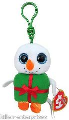 Ty Baby Beanies Shivers Chirstmas Snowman Plush Clip Keychain ...