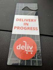 DELIV Car Rear View Mirror Hanging Tag Sign Double Sided Deliv...