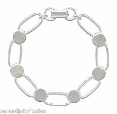 1 SILVER Plated BRACELET Blank Form Oval Links + 6 Round Disks...